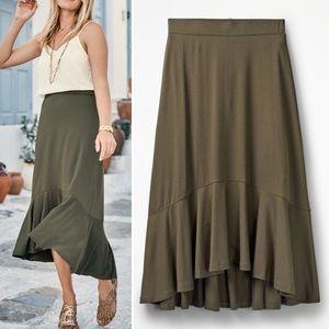 NWT Boden Fluted Hem Jersey Skirt in Green